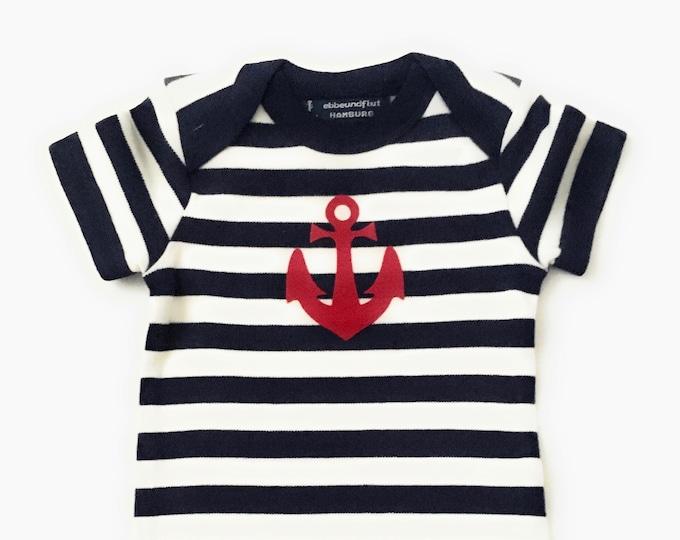 Maritime Baby Body ANKER HAMBURG - Fair Trade - Hamburg Gift, Baby Gift for Birth, Baby Romper Anchor, Blue White Striped