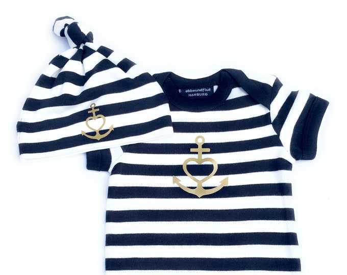 """Baby Set """"Anchor with Heart"""" Faith, Love, Hope,-Baby Body, Hat-Blue White Gold, Baby Gift, Gift to Birth, Anchor, Heart"""
