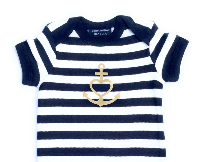 """Baby Body """"Anchor with Heart""""-Blue White Striped, Gold, Fair, Baby, Baby Strampler, Baby Gift, Gift to Birth, Faith Love Hope"""