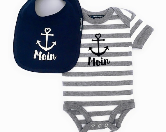 Maritime Baby Set Moin with Anchor - Fair Trade - Baby Gift for Birth, Baby Romper Moin, Baby Bib Moin, Set Moin, Set Anchor