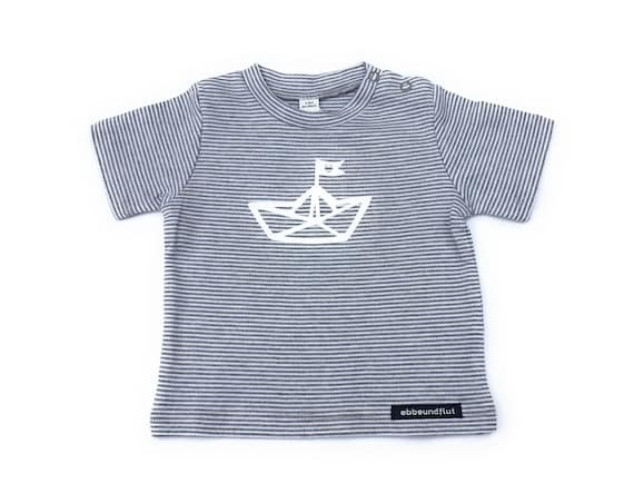 Maritime baby shirt paper boat - grey/white striped - fair & organic, baby, gift for birth, baby shirt, striped shirt