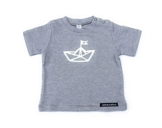 Maritime baby shirt paper boat - grey/white striped - fair & organic, baby, gift for birth, baby shirt, striped shirt
