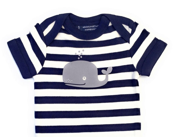 Maritime Baby-Body whale-hamburg-fair-blue white, Hamburg gifts, gift for birth, baby, baby shower, baby gift, baby romper suits