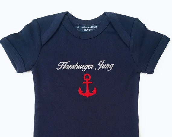 Maritime Baby Body Hamburger Boy - Fair Trade, Baby Gift for Birth, Hamburg Gift, Anchor Red, Backboard