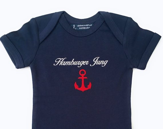 Maritimer Baby-Body Hamburger Jung - Fair Trade, Baby Gift for Birth, Hamburg Gift, Anchor Red, Port