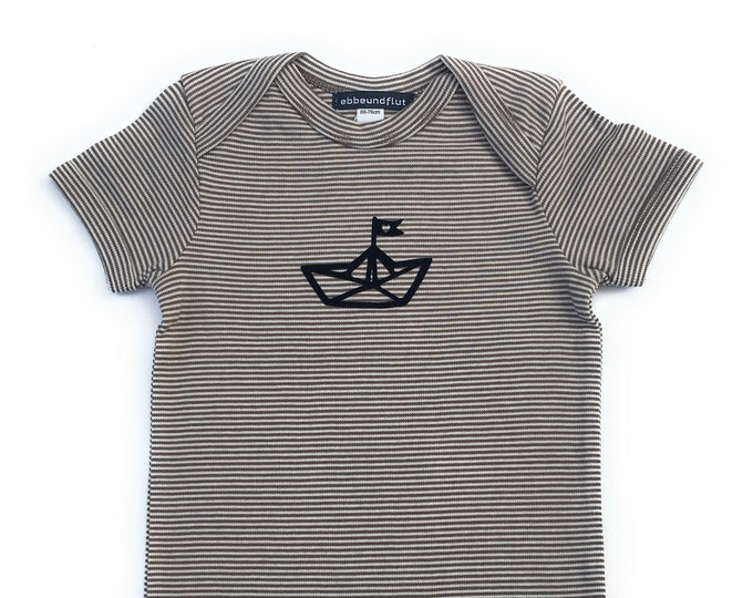 Maritime baby romper paperboat - fair and organic - taupe white striped - baby, romper, paper boat