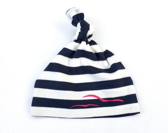 Maritime Baby Beanie Seagulls - Fair Trade - Knot Hat, Gift for Birth, Baby Beanie Stripes by Ebbeundflood