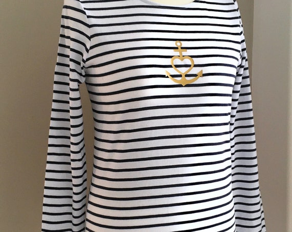 """Lightweight long sleeve shirt anchor - white blue striped - Maritime women's shirt """"Faith Love Hope"""", anchor with heart in gold - Slim Fit"""