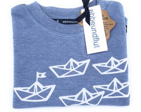 "Maritime baby shirt ""Paper Ships"" light blue-fair-paperboats, folding boat, boat, Hamburg gift, gift to birth, baby, baby shirt"