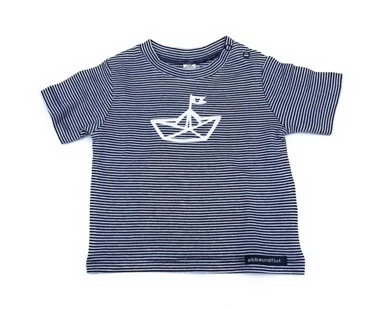 Maritime Baby Shirt Paperboat-Blue White Striped-Fair & Bio, Baby Gift to Birth, Baby Shirt Anchor, Anchor Love, Shirt Striped