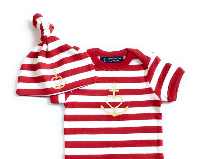 "Baby Set ""Anchor with Heart"" Faith, Love, Hope-Baby Body & Hat-Red White Striped, Gold, Baby Gift, Gift to Birth,"