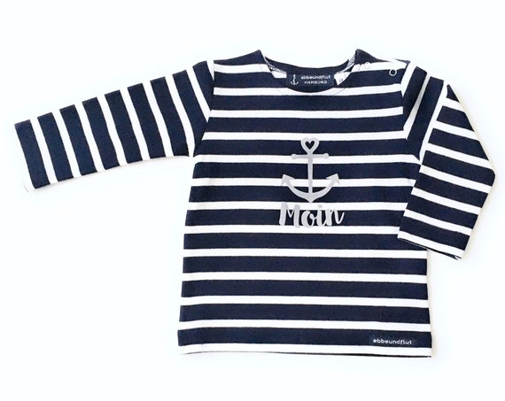 Baby Shirt Moin - Dark Blue White Striped - Breton Baby Shirt Maritim with Anchor, Breton Shirt Baby Moin, Baby Gift for Birth
