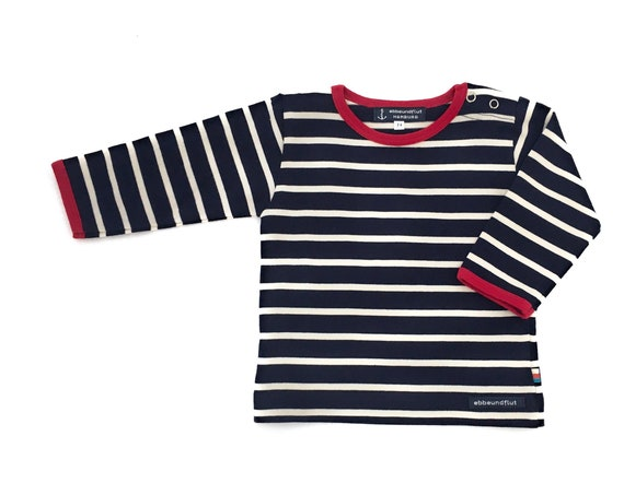 Baby Breton Shirt - Dark Blue/Natural White Striped Shirt maritim, Breton Shirt, Baby Gift for Birth