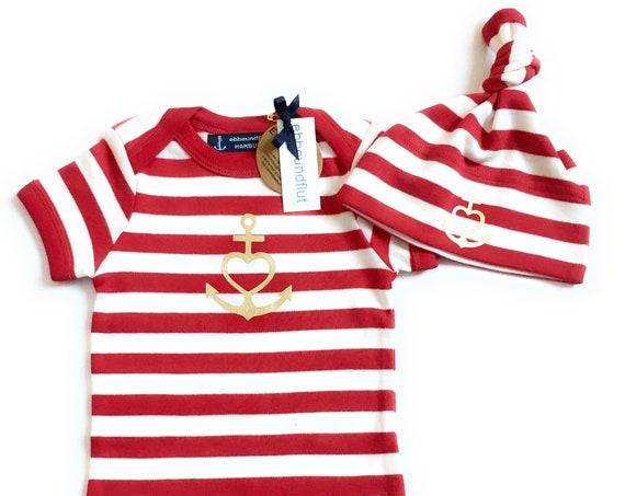 """Baby Set """"Anchor with Heart"""" Faith, Love, Hope - Baby Bodysuit & Hat - Red White Striped, Gold, Baby Gift, Birth Gift,"""