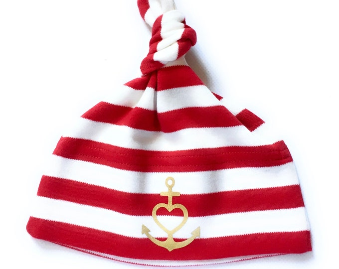 "Baby Hat ""Anchor with Heart"" red white gold-fair-Faith, Love, Hope, Baby Hat, Node Hat, Hat Anchor, Gift to Birth,"