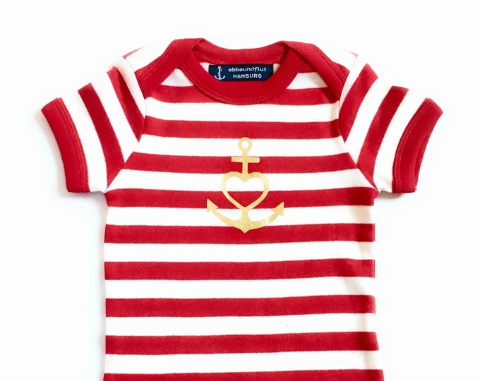 """Baby Bodysuit """"Anchor with Heart"""" - Faith, Love, Hope - Red White Gold, Fair, Baby, Baby Romper, Baby Gift, Birth Gift"""