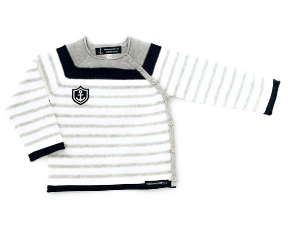 Maritime Baby Sweater Little Captain - Baby Knit Sweater Boy maritim, Baby Gift at Birth, Port of Hamburg, Anchor Coat of Arms