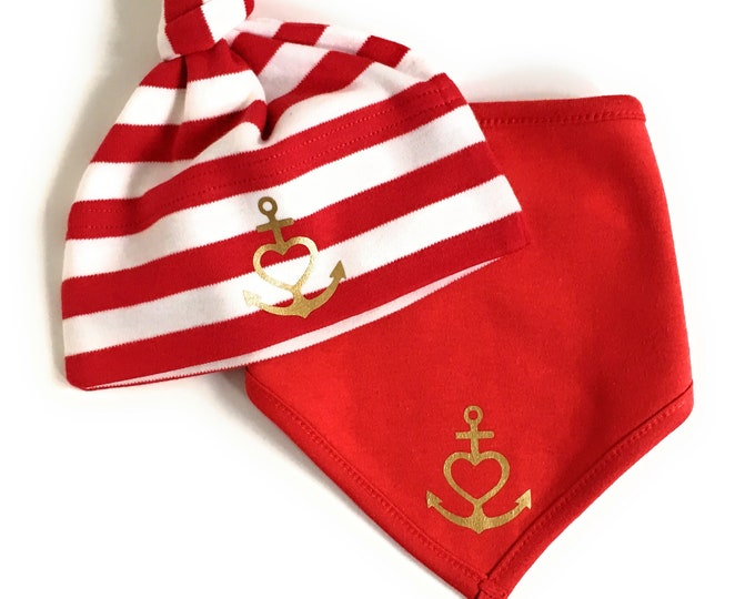"Baby Set Hat & Neckerchief ""Anchor with Heart"" Faith, Love, Hope-Red White gold-fair-Gift to Birth, Anchor, Heart, Love, Baptism"