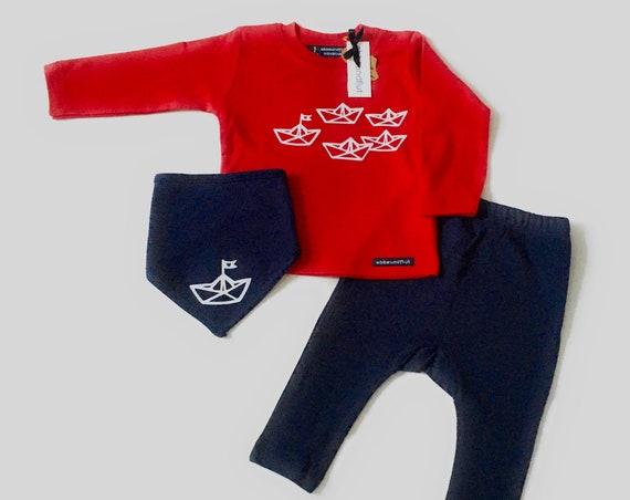 "Baby Set ""Paper Ship"" Long Sleeve Shirt, Pants & NeckScarf - Fair Trade - Maritime Baby Set, Gift for Birth"