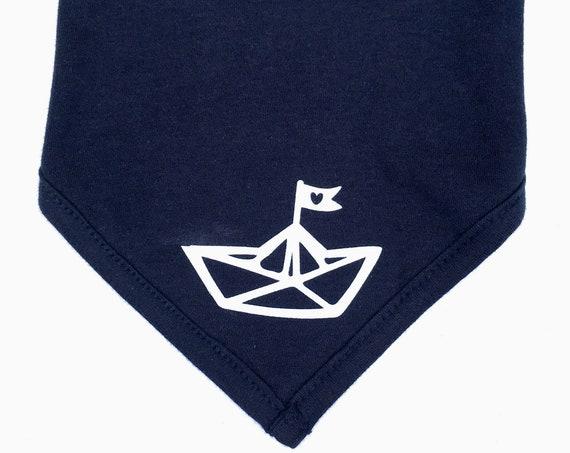 Baby neckerchief paper ships-Fair Trade-baby neckerchief, Hamburg, maritime, neckerchief for babies, folding boat, ship, paper ship, heart