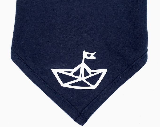Baby neckerchief paper ships-Fair Trade-baby neckerchief, Hamburg, maritime, neckerchief for babies, folding boat, ship, paper ship, heart