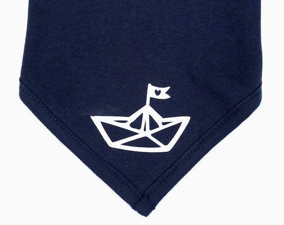 Baby neckerchief paper ships-Fair Trade-Bandana, baby neckerchief, neckerchief for babies