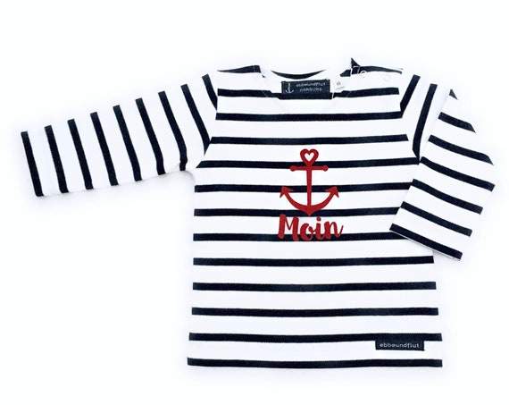 Baby Shirt Moin - White Blue Striped - Breton Baby Shirt maritim with Anchor, Breton Shirt Baby Moin, Baby Gift for Birth