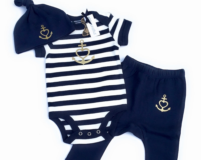 """Baby Set """"Anchor with Heart"""" Faith, Love, Hope-Baby Body, Hat & Pants-Blue White Gold, Gift to Birth, Anchor, Heart, Love"""
