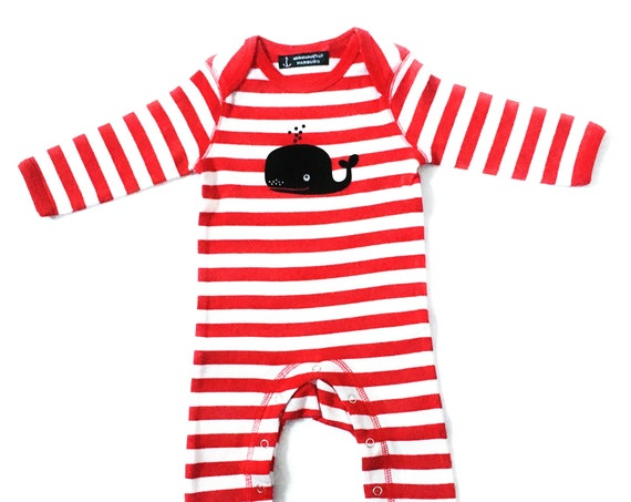 Maritime Baby Trample Whale Red White - Fair Trade & Organic - Baby Gift for Birth, Baby Romper Whale Striped by ebbeundflut