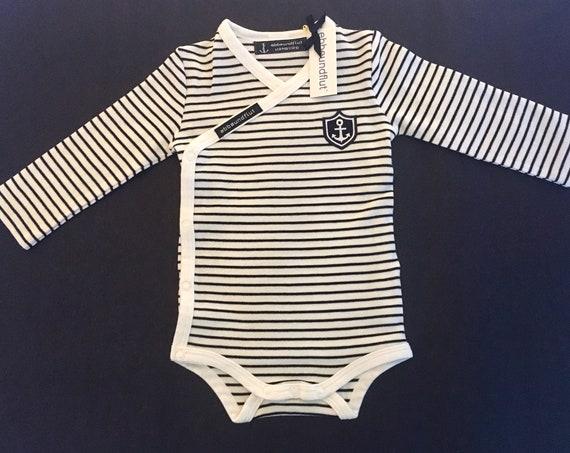 Wrap body KAPITÄN 62/68-wrap bodysuit, white-blue striped, Hamburg young, captain, baby gift Hamburg, boy, Hanseat