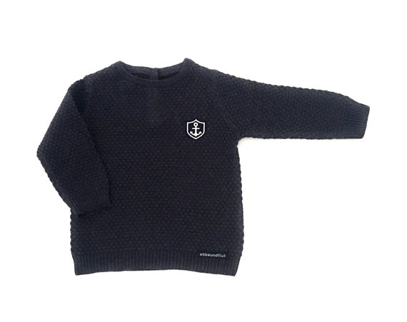 Baby Sweater Little Captain maritim - Anchor Coat of Arms, Knit Sweater Boy maritim, Baby Gift for Birth, Little Captain Hamburg
