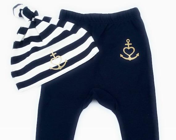 "Baby Set ""Anchor with Heart"" Faith, Love, Hope-Blue White Gold-Fair & Bio-Baby Gift to Birth, Baby Gift, Heart, Anchor, Love"