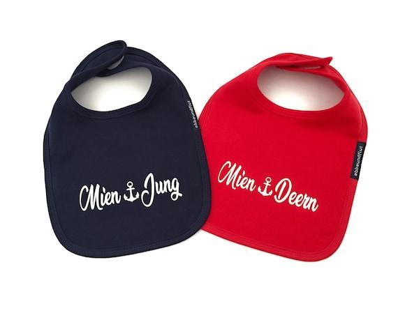 Bib Set Mien Jung and Mien Deern Blue/Red Twins - Fair Trade & Organic - Hamburger Jung, Hamburger Deern, Baby Gifts