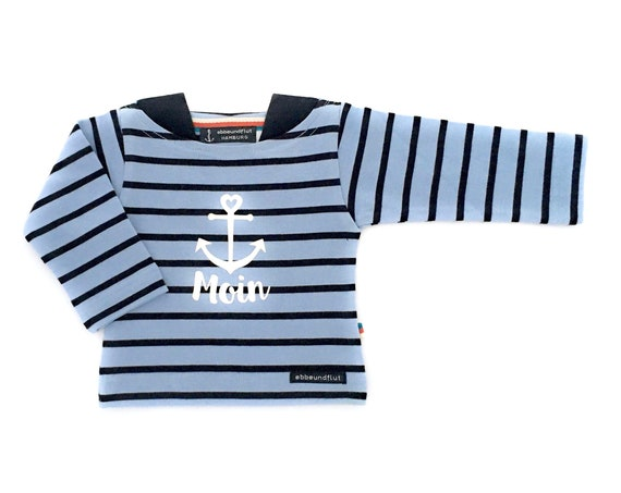Baby Breton Shirt Moin - Light Blue/Dark Blue Striped Shirt, Maritim Shirt, Breton Shirt, Baby Gift for Birth, Moin Anchor with Heart