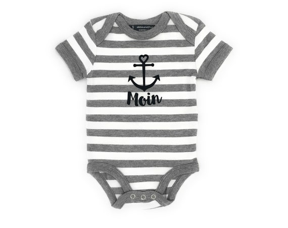 Maritime Baby Body Moin with Anchor - Fair Trade - Grey White, Baby Gift for Birth, Baby Romper Moin, East Frisia, Baltic Sea, North Sea