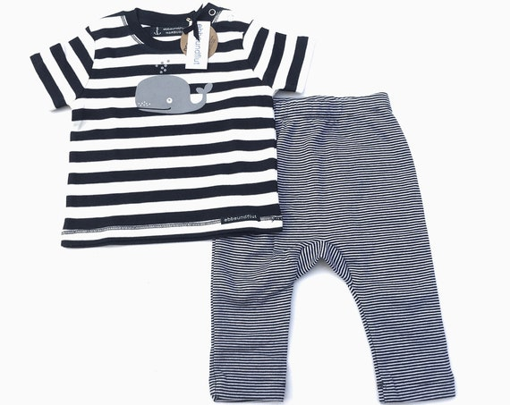 MaritimeS Baby Set Whale - Baby Shirt and Baby Pants - fair & organic - baby gift, baby set stripes