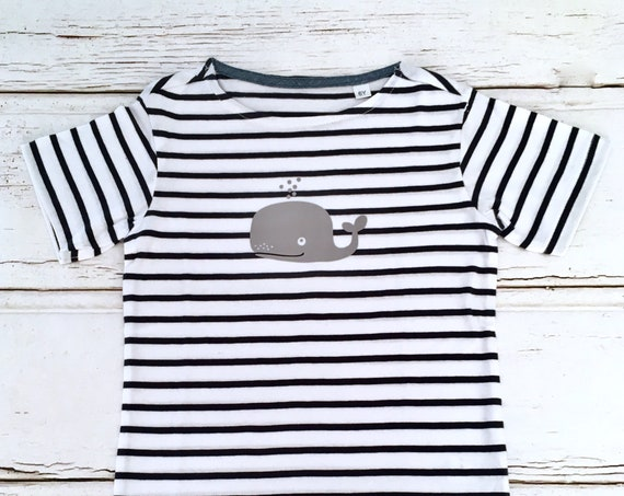 T-shirt whale-white-blue striped-Fair Trade-Kids Shirt, Stripes, Maritime, Whales, Hamburg