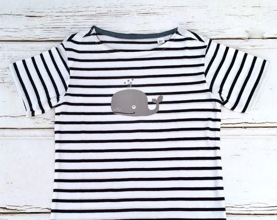 T-Shirt Whale - White/Blue Striped - Fair Trade & Organic - Kids Shirt, Stripes, Maritim, Whales, Hamburg