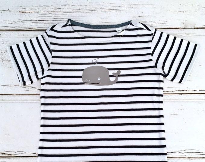 T-shirt whale-white-blue striped-Fair Trade-Kids Shirt, Stripes, Maritime, Whales, Hamburg
