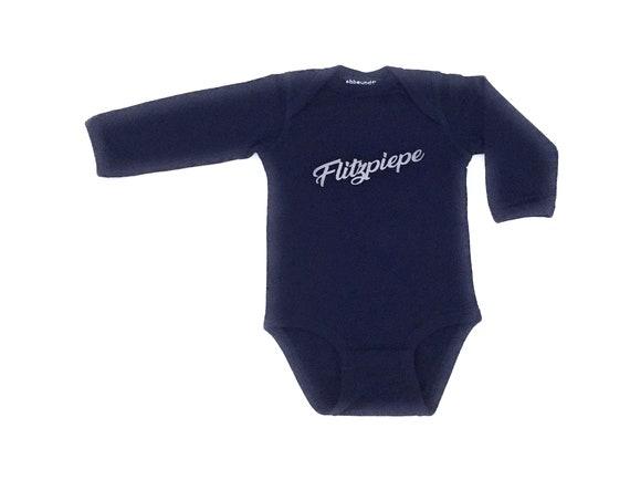 Baby Body Flitzpiepe - dark blue baby body boy, long sleeve baby body blue for the newborn, Berlin boy, low tide and tide