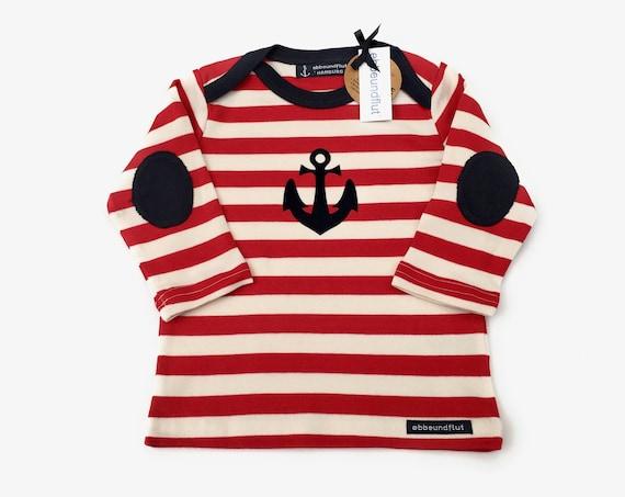Maritime baby long sleeve shirt ANKER HAMBURG - fair - red and white striped - Hamburg gifts, gift for birth, baby shirt anchor