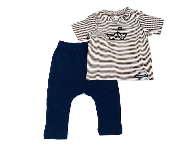 Maritime Baby Set Paperboat-brown blue-fair & bio-Baby gift to birth, paper ships, folding boat, baby gift boy