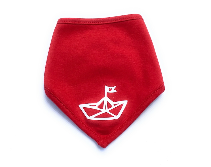 Baby Scarf Paper Ship Red - Fair Trade - Bandana, Baby Neck Scarf, Scarf for Babies