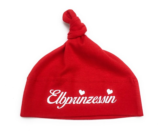 """Baby hat """"Elbprinzessin"""" red - Fair Trade & Organic - Baby cap, knot cap, cap anchor, gift for birth"""