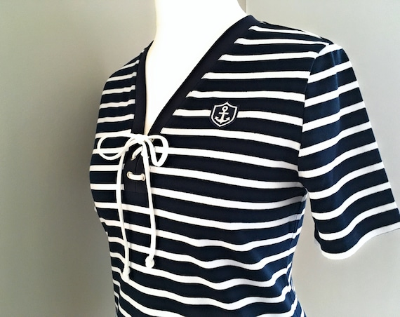 Maritime Women's Shirt Anchor - Blue/White Striped - Women's Shirt Anchor, Breton Shirt Stripes, Shirt with Lacing