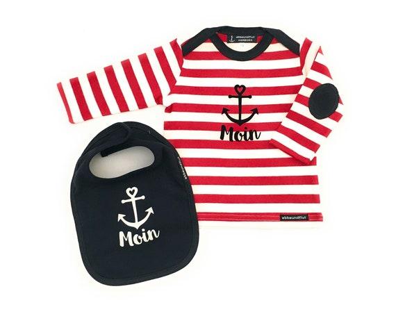 Baby Long Sleeve Shirt and Bib Anchor Moin - Fair Trade & Organic - Maritimes Baby Set Anchor Moin, Baby Gift for Birth, Hamburg Gift