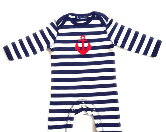 Baby romper blue and white striped anchor - Fair Trade and Organic - Hamburg Gifts, Birth Gift, Baby Romper Anchor, Baby Onesie