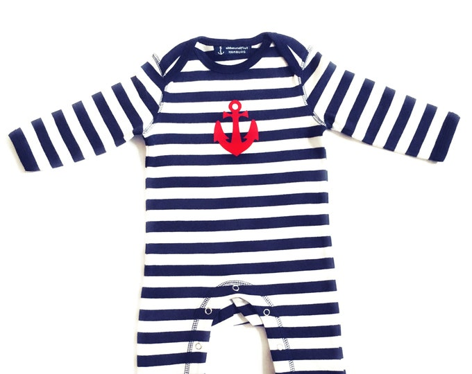 Baby strampler blue and white striped ANKER-Fair Trade-Hamburg gifts, gift to birth, baby, baby strampler, baby pyjama