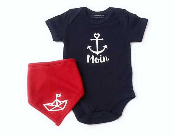 Maritime Baby Set Moin - Fair Trade & Organic - Dark Blue Red - Baby Gift for Birth, Baby Body Moin and Neck scarf Paper Ship