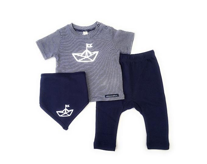 Maritime Baby Set Paper Ships Blue/White-Fair & Bio-Baby Set, Baby shirt, Neckerchief and Pants, Gift to Birth